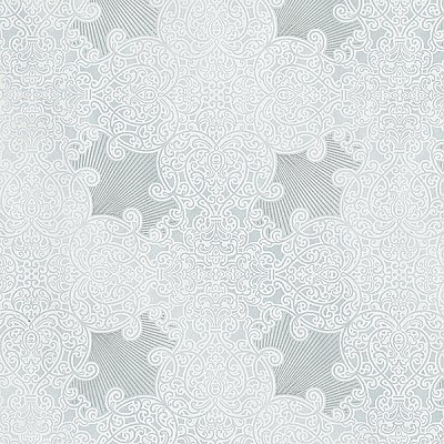 Linkin Light Blue Scroll Medallion Wallpaper