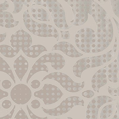 Leanne Taupe Metallic Dot Medallion Wallpaper