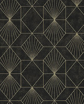 Halcyon Black Geometric Wallpaper