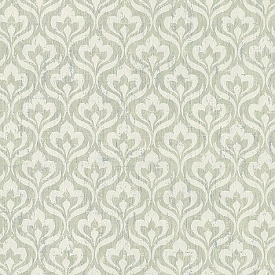Toscana Light Green Peacock Ogee Wallpaper