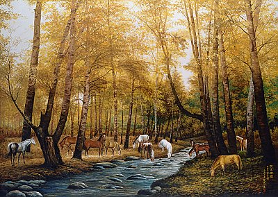Gathering Horses Mural 1850 DS8050