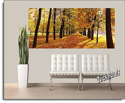 Autumn Park Panoramic One-piece Peel & Stick Canvas Wall Mural