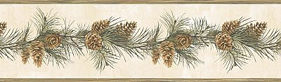 Fleming Cream Pine Boughs Trail Border