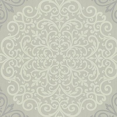 Cassidy Grey Medallion Damask Wallpaper