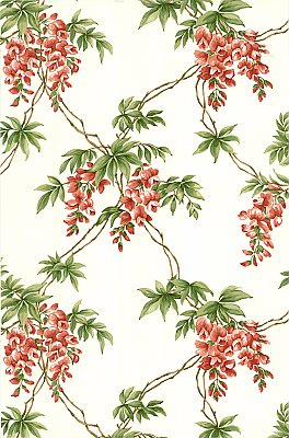 Annabelle Red Floral Toile Wallpaper