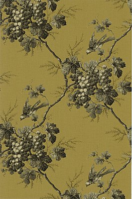 Napa Valley Black Grape Toile Wallpaper