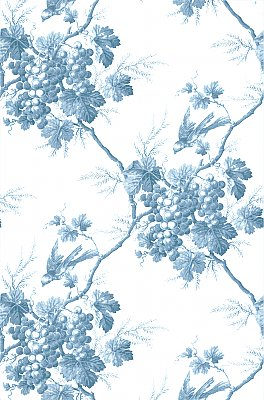 Napa Valley Blue Grape Toile Wallpaper