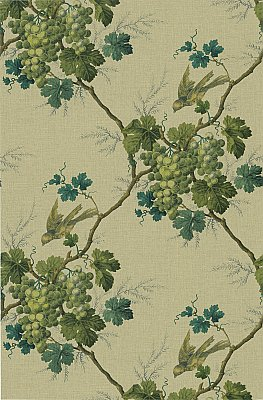 Napa Valley Sage Grape Toile Wallpaper