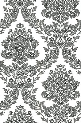 Rice Ink Meridian Damask Wallpaper