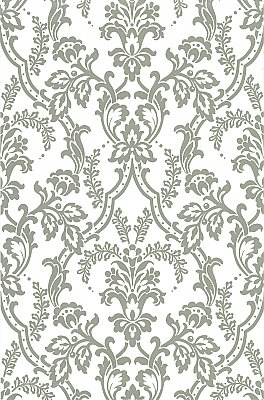 Andrea White Ornate Ogee Wallpaper