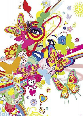 Rainbow Face Wall Mural DM429