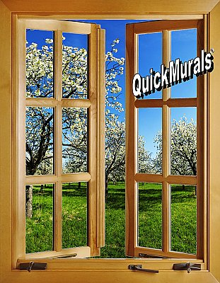 Apple Blossom Window (open) 1-Piece Peel and Stick Canvas Wall Mural