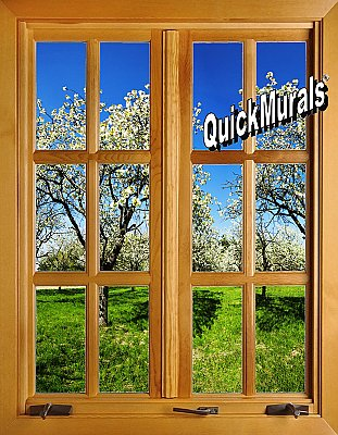 Apple Blossom Window (closed) 1-Piece Peel and Stick Canvas Wall Mural