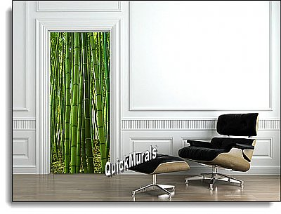 Bamboo Grove 1-piece Peel & Stick Door Mural Roomsetting