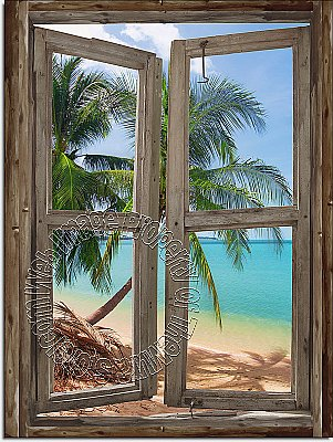 Beach Cabin Window Mural #3