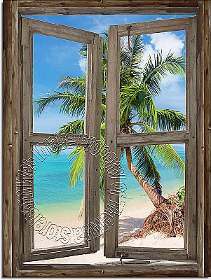 Beach Cabin Window Mural #4