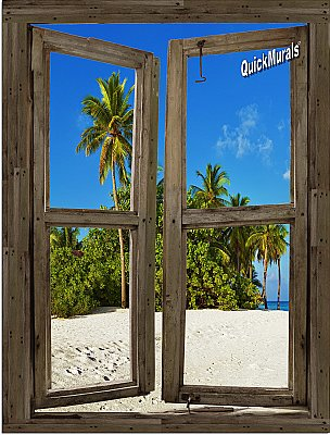 Beach Cabin Window Mural #10