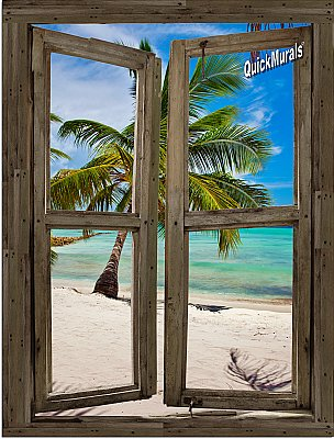Beach Cabin Window Mural #12