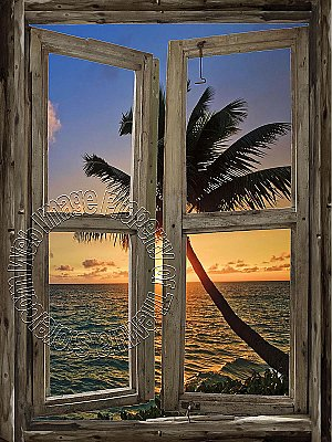 Beach Cabin Window Mural #6 One-piece Peel and Stick Canvas Wall Mural