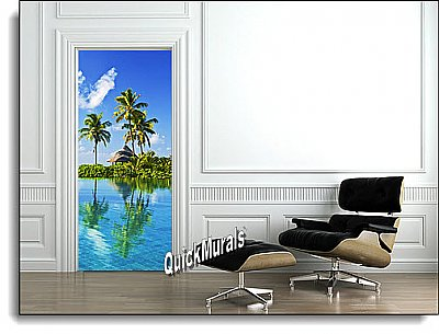 Blue Lagoon Door Mural Roomsetting
