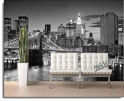 Brooklyn Bridge Black & White Peel and Stick Wall Mural roomsetting