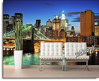Brooklyn Bridge (Color) Peel and Stick Wall Mural roomsetting