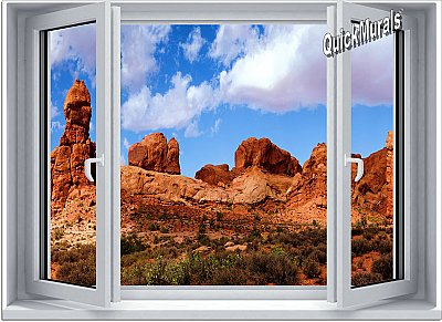 Desert Canyon Window 1-Piece Canvas Peel and Stick Canvas Wall Mural
