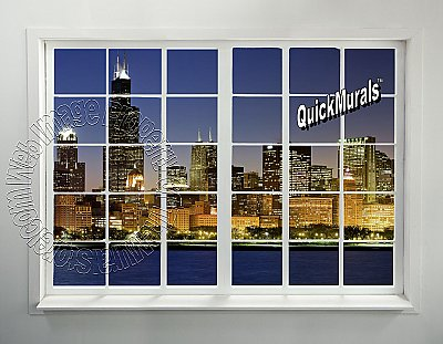 Cityscape Window #1 Peel and Stick Canvas Wall Mural