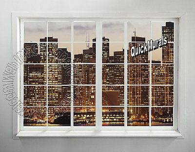 Cityscape Window #2 Peel and Stick Canvas Wall Mural