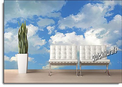 Clouds Peel & Stick Canvas Wall Mural Roomsetting