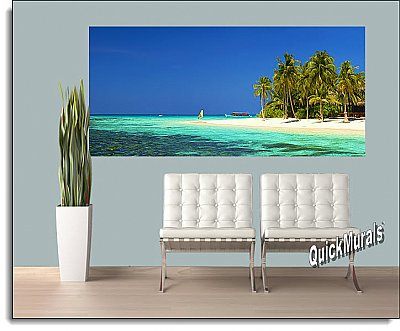 Cook Island Panoramic One-piece Peel & Stick Canvas Wall Mural Roomsetting
