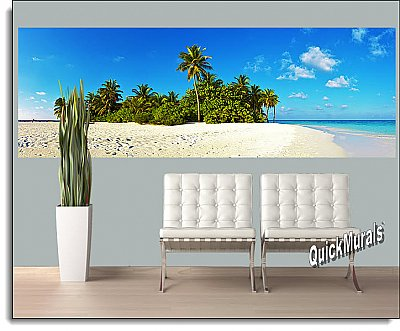 Curacao Island Caribbean One-piece Peel & Stick Canvas Wall Mural Roomsetting