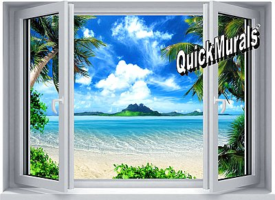 Tropical Window One-piece Peel and Stick Canvas Wall Mural
