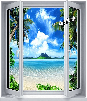Enchanted Island Window 1-Piece Peel and Stick Canvas Wall Mural