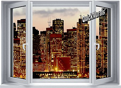 Metropolis Window 1-Piece Peel and Stick Mural