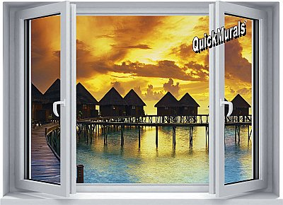 Sunset Resort Window One-piece Peel and Stick Canvas Wall Mural