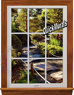 Garden Path Window 1-Piece Peel and Stick Canvas Wall Mural