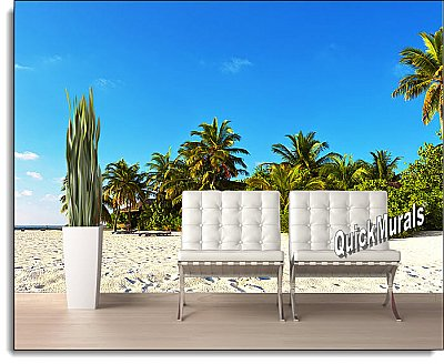 Island Getaway Peel & Stick Canvas Wall Mural Roomsetting