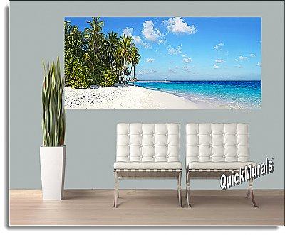 Island Vacation Panoramic 1-piece Peel and Stick Wall Mural
