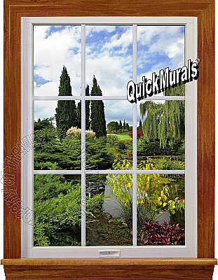Garden Lake Window 1-Piece Peel and Stick Canvas Wall Mural