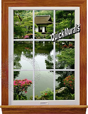 Lakehouse Window 1-Piece Peel and Stick Canvas Wall Mural