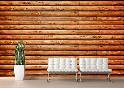 Log Cabin (Red Cedar) CANVAS Peel and Stick Wall Mural Roomsetting