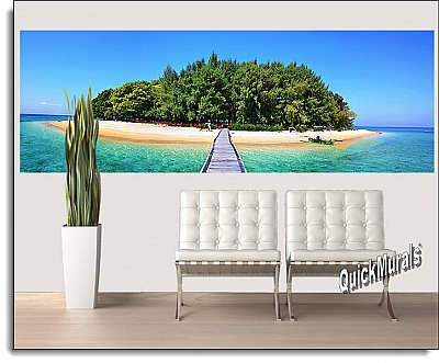 Maldive Island One-piece Peel & Stick Canvas Wall Mural Roomsetting