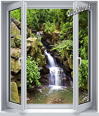 Black Forest Waterfall Window 1-Piece Peel & Stick Wall Mural rOOMSETTING