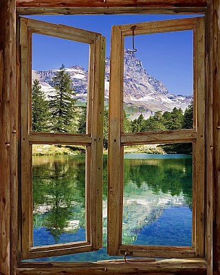 Mountain Cabin Window Mural #4 DT1299