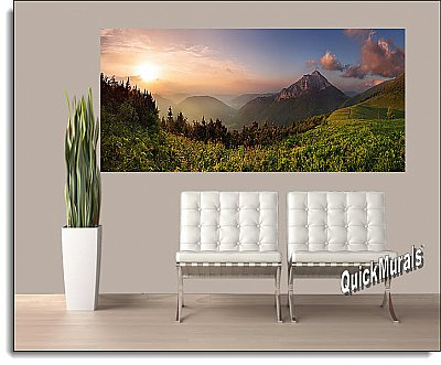 Mountain Sunrise Panoramic One-piece Peel & Stick Canvas Wall Mural Roomsetting