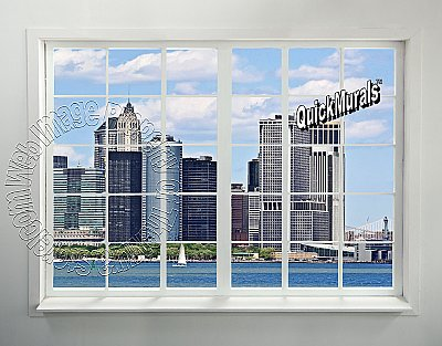 NYC Skyline Window #2 Peel and Stick Canvas Wall Mural