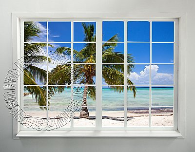 Palm Beach Window Peel and Stick Wall Mural