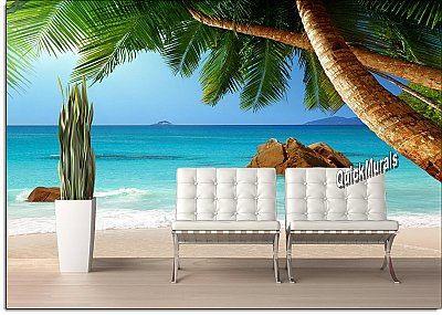 Secluded Beach Peel and Stick Wall Mural