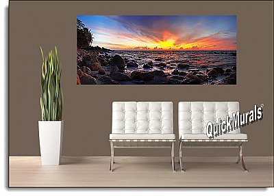 Tioman Island Sunset, Malaysia Panoramic One-piece Peel & Stick Canvas Wall Mural Roomsetting